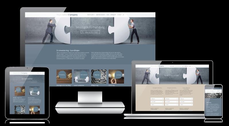 www.negotiation-company på skærm, tablet og mobil